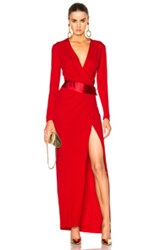 Alexandre Vauthier Long Sleeve Maxi Dress In Red Abstract Red Abstract