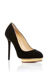 Charlotte Olympia Dotty Suede Pumps Black
