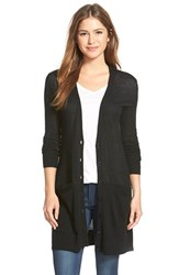 Petite Women's Halogen Side Zip Long V Neck Cardigan Black