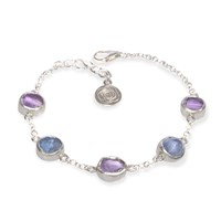 Poppy Jewellery Amethyst And Tanzanite Sterling Silver Bracelet Pink Purple