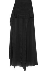 Michelle Mason Layered Satin Trimmed Silk Chiffon Maxi Skirt Black