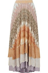 Missoni Metallic Crochet Knit Maxi Skirt Gold