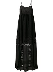 Twin Set Sheer Detail Maxi Dress Women Cotton Polyester Viscose 40 Black