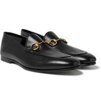 Gucci Brixton Horsebit Collapsible Heel Leather Loafers Black