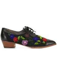 Kenzo Vintage Beaded Flower Oxford Shoes Black