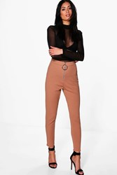 Boohoo Zip Detail Ribbed Highwaist Leggings Camel