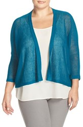 Plus Size Women's Eileen Fisher Organic Linen Mesh Knit Cardigan