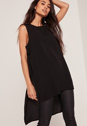 Missguided Tie Side Drop Hem Cami Top Black
