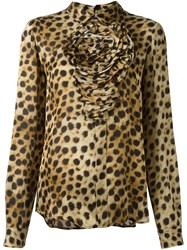 Blumarine Animal Print Longsleeved Blouse Nude And Neutrals