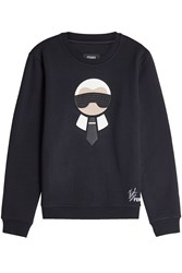 Fendi Karlito Embellished Sweatshirt With Wool And Cotton