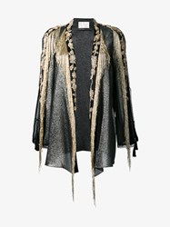 Alberta Ferretti Silk Blend Lurex Beaded Jacket Silver Black