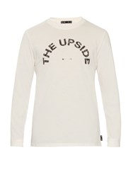 The Upside Crackle Print Long Sleeved T Shirt White