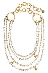Virgins Saints And Angels Women's Coronation Crystal Magdalena Multistrand Necklace Gold Blue Lagoon