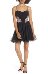 Blondie Nites Applique Sweetheart Fit And Flare Dress Black Rose
