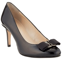 John Lewis Amersham Bow Detail Closed Court Shoes Black Patent Leather