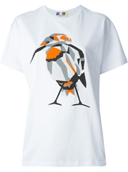Msgm Bird Print T Shirt White