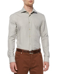 Kiton Check Long Sleeve Woven Shirt Olive Tan