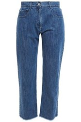Michael Kors Collection Woman Cropped Frayed Mid Rise Straight Leg Jeans Mid Denim