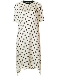 Hache Polka Dot Flared Dress Nude And Neutrals