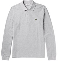 Lacoste Cotton Pique Polo Shirt Gray