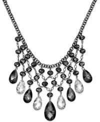 Alfani Hematite Tone Faceted Stone And Chain Shaky Frontal Necklace