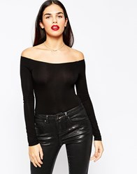 Asos The Off Shoulder Body With Long Sleeves Black