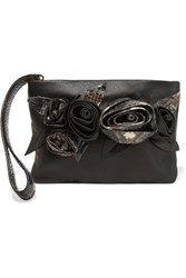 Valentino Python Trimmed Leather Pouch Black