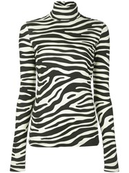 Proenza Schouler White Label Zebra Print Jersey Long Sleeve Turtleneck 60