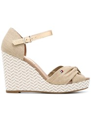 Tommy Hilfiger Zigzag Wedge Sandls Women Leather Tactel Rubber 39 Nude Neutrals