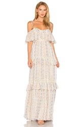 Needle And Thread Floral Stripe Maxi Dress Beige