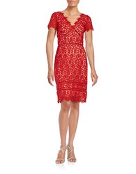 Nue By Shani Lace Cutout Sheath Dress Red Nude