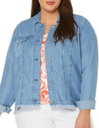 Rafaella Plus Frayed Denim Jacket Light Indigo