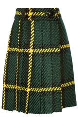 Miu Miu Pleated Plaid Wool And Cotton Blend Boucle Tweed Skirt