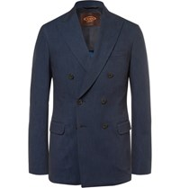 Tod's Blue Slim Fit Double Breasted Denim Blazer Dark Denim