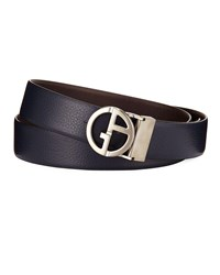 Giorgio Armani Logo Buckle Vitello Belt Blue Brown Blue Brown