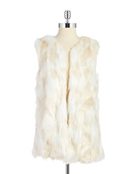 C Luce Faux Fur And Crochet Vest Creme