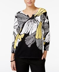 Alfred Dunner Floral Print Split Neck Sweater Multi