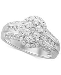 Macy's Oval Cluster Diamond Engagement Ring 1 Ct. T.W. In 14K White Gold