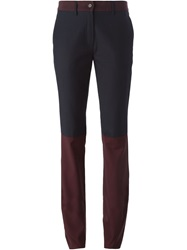 Unconditional Contrasting Panels Slim Fit Trousers Blue