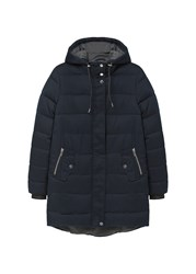 Mango Hood Quilted Coat Navy