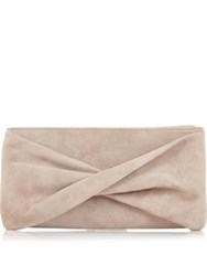 Reiss Beau Suede Bow Clutch Nude