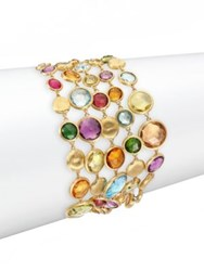 Marco Bicego Jaipur Semi Precious Multi Stone And 18K Yellow Gold Five Strand Bracelet Gold Multi