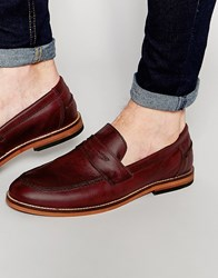 Asos Loafers In Burgundy Leather With Natural Sole Red