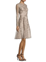 David Meister Embroidered Cocktail Dress Platinum