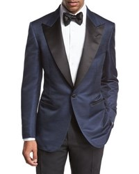 Tom Ford Windsor Base Textured Peak Lapel Tuxedo Jacket Bright Blue