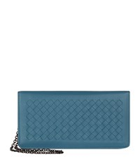 Bottega Veneta Intrecciato Chain Wallet Female Blue