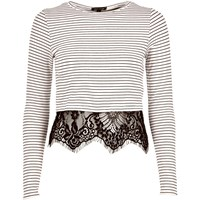 River Island Womens Cream Stripe Long Sleeve Lace Hem T Shirt