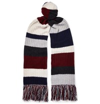 The Elder Statesman Fringed Striped Ribbed Cashmere Scarf Multi