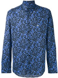 Etro Floral Print Shirt Men Cotton 45 Blue