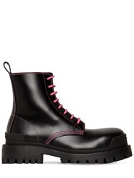Balenciaga 50Mm Strike Leather Combat Boots Black